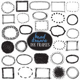 Set of sketch drawn frames. Black and white vector collection of circle and rectangle simple borders Royalty Free Stock Images