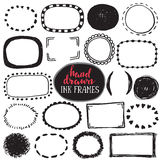 Set of sketch drawn frames. Black and white vector collection of circle and rectangle simple borders Stock Photography