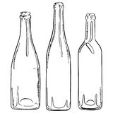 Set of sketch empty wine bottles. Vector hand drawn contour of bottles.  Royalty Free Stock Images