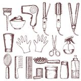 Tools and hair care products Royalty Free Stock Photography