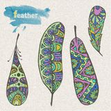 Set of sketch feather Stock Photos