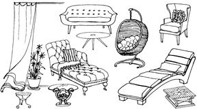 Set sketch of furniture for the rest. Set - sketch of furniture for the rest  for the house and yard Stock Photos