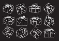 Set Of Sketch Gift Box, Presents Hand Drawn Collection With Ribbon And Bow Stock Image