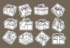 Set Of Sketch Gift Box, Presents Hand Drawn Collection With Ribbon And Bow Royalty Free Stock Photos