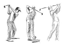 Set sketch golfer Stock Photo