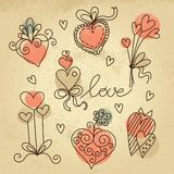 Set of sketch hearts Stock Photos