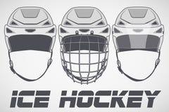 Set of sketch Hockey Helmets Royalty Free Stock Image