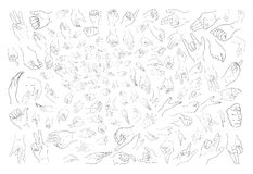 Set of Sketch Human Hand Gestures on White Background. Hand Drawn Sketch of Assorted Hand Signs Gestures or Body Language Set Isolated on White Background Stock Photos