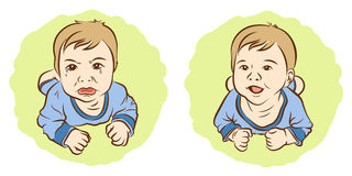 Set of sketch, Kids awful sadness face and happiness face. Set of sketch, Kids awful sadness face and happiness face, Drawing vector illustration Royalty Free Stock Images