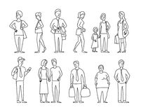 Set sketch a lot of different people. Many ordinary people on the street. Hand drawn black line vector stock. Illustration. With the phone, couple on the go and vector illustration