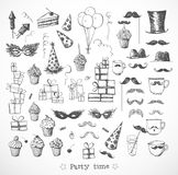 Set of sketch party objects hand-drawn with ink Stock Images