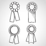 Set of sketch prize ribbons Royalty Free Stock Photography