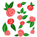 Set of sketch roses and leaves isolated on white Royalty Free Stock Photo