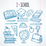 Set with sketch school supplies Stock Images