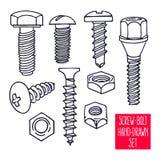 Set of sketch screws Stock Photos