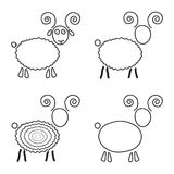 Set of sketch sheep like symbol of 2015 year. Isolated on white background. modern vector illustration Stock Illustration