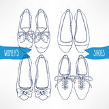 Set with sketch shoes - 2. Set with different sketch shoes on a white background - 2 Royalty Free Stock Image