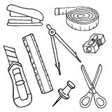 Set of sketch stationery items and school supplies. Vector illustration Royalty Free Stock Images