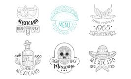 Vectoe set of sketch emblems for Mexican restaurant. Hand drawn logos with traditional food and drink, skull and royalty free illustration