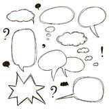 Set of sketch style speech bubbles Royalty Free Stock Photos