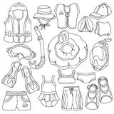 Set of sketch swimming goods for kids. Vector doodle icons Royalty Free Stock Photo