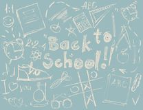 Set Sketch Symbols Concept Back to School Drawing Royalty Free Stock Photo