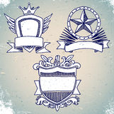 Set of sketch vintage shield labels Royalty Free Stock Photo