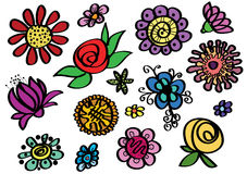 Set of sketched colour flowers-vector Royalty Free Stock Images