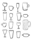 Set of sketched cups and glasses Royalty Free Stock Photos