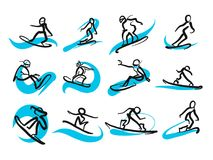 Set of sketched freestyle snowboarding people. Hand-drawn vector illustration by two different pens. Black people in foreground, blue moving lines in Stock Images