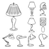 Set of Sketched Table Lamps Royalty Free Stock Photo
