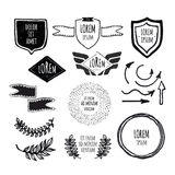 Set of sketched template retro vintage badges Stock Photography