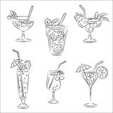 Set of  sketches. Party cocktails Royalty Free Stock Photography