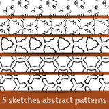 Set of sketches abstract seamless patterns. Sketchy illustration. Sketchy background. Hand drawn. Vector, format eps10 stock illustration