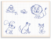 Set of sketches of birds and animals. For design, on a checkered background Royalty Free Stock Photos