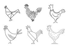 Set of sketches of birds roosters. Set of sketches of a rooster. Stylized icons in vector graphics. Blank badges for brands Royalty Free Stock Images