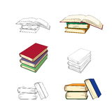 Set of sketches of books. Vector illustration. Opened and closed books isolated on white background.Set of sketches of books. Vector illustration Stock Images