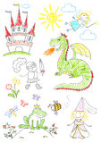 Set sketches with characters of fairy-tales Royalty Free Stock Images