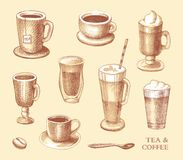Set of sketches of cups of coffee and tea Stock Image