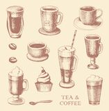 Set of sketches of cups of coffee and tea Stock Photo