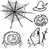 Set of sketches for the design in the style of Halloween Royalty Free Stock Images