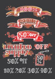Set of sketches discount banners Royalty Free Stock Photo