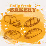 Set sketches of fresh bread Royalty Free Stock Images