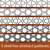 Set of sketches geometric seamless patterns. Sketchy illustration. Sketchy background. Hand drawn. Vector, format eps10 Royalty Free Stock Photo