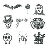 Set of sketches Halloween icons Royalty Free Stock Photo