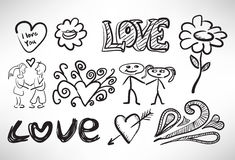 Set of sketches of love Stock Images