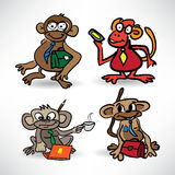 Set of sketches monkey business with a phone and a laptop Royalty Free Stock Photography