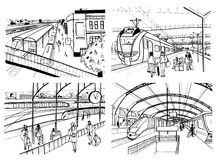 Set of sketches with railway station. Passengers on platform, waiting, arriving and departing train. Hand drawn black Royalty Free Stock Photo