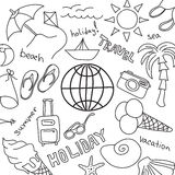Set of sketches - summer vacation at sea Royalty Free Stock Images