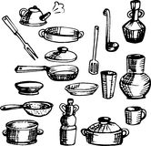 A set of sketches of tableware, kitchen utensils Royalty Free Stock Photography